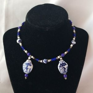 Jewelry - Royal Blue/white porcelain Beads choker necklace